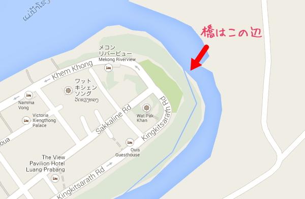 メコン川にかかる壊れそうな橋の場所・地図画像