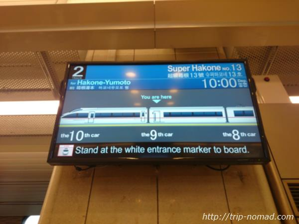 ロマンスカー新宿駅案内板画像