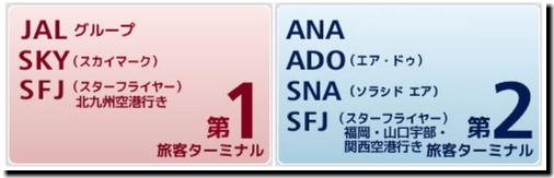 羽田空港「第1ターミナル」「第2ターミナル」利用航空会社画像