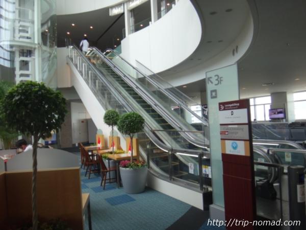羽田空港「POWER LOUNGE NORTH(パワーラウンジ北)」3階へ上がるエスカレーター画像