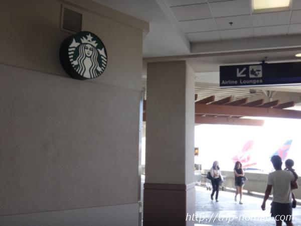 ホノルル国際空港の国際線ターミナルスタバ看板画像
