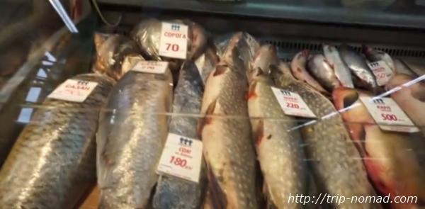 ロシアのイルクーツク市場魚売り場画像