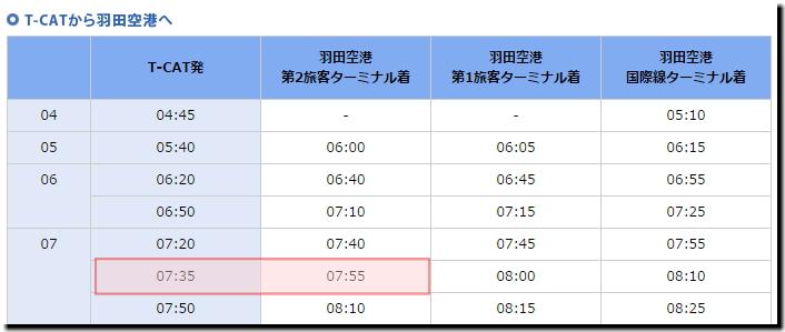 T-CAT発羽田空港第2旅客ターミナル時刻表画像