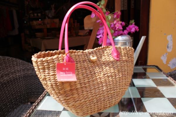 カンボジア『ベリーベリー』ウォーターヒヤシンス手作りバッグ画像