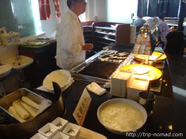 『マホロバマインズ三浦』朝食ビュッフェ焼き魚画像