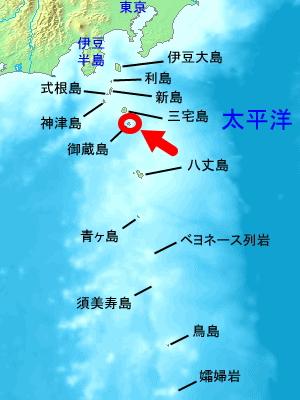 御蔵島の位置画像