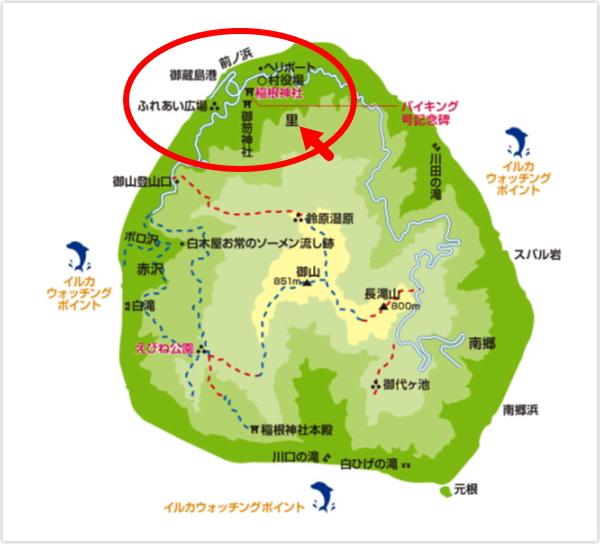 御蔵島村の里の位置画像