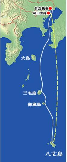 八丈島上陸ルート画像