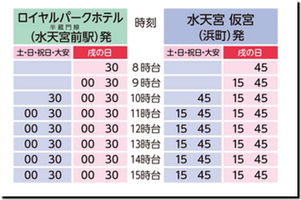日本橋人形町安産神様『水天宮仮宮』無料送迎バス「子宝丸」の時刻表画像