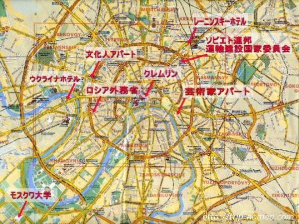 モスクワ『スターリン建築・セブンシスターズ』の配置地図画像