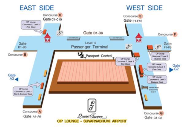 バンコク・スワンナプーム国際空港ラウンジフロアガイド画像