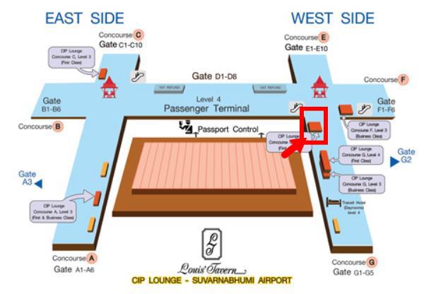 バンコク・スワンナプーム国際空港ラウンジコンコースG地図画像