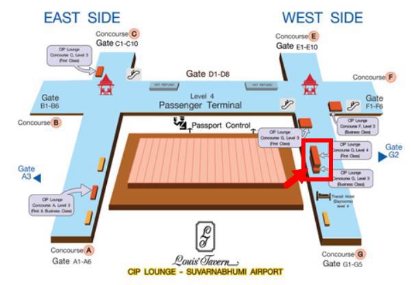 バンコク・スワンナプーム国際空港ラウンジコンコースG2地図画像