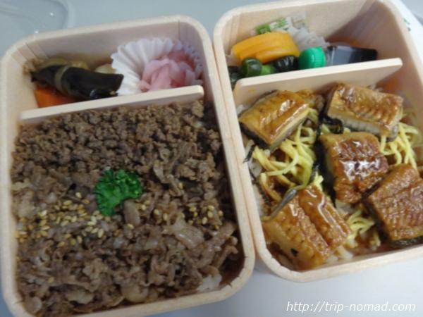 東京駅駅弁『祭』「牛肉どまん中」&「うなぎどまん中」画像