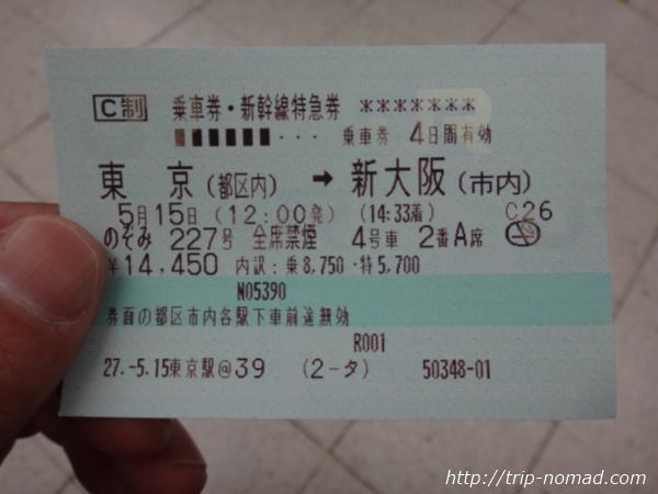新幹線のぞみチケット画像