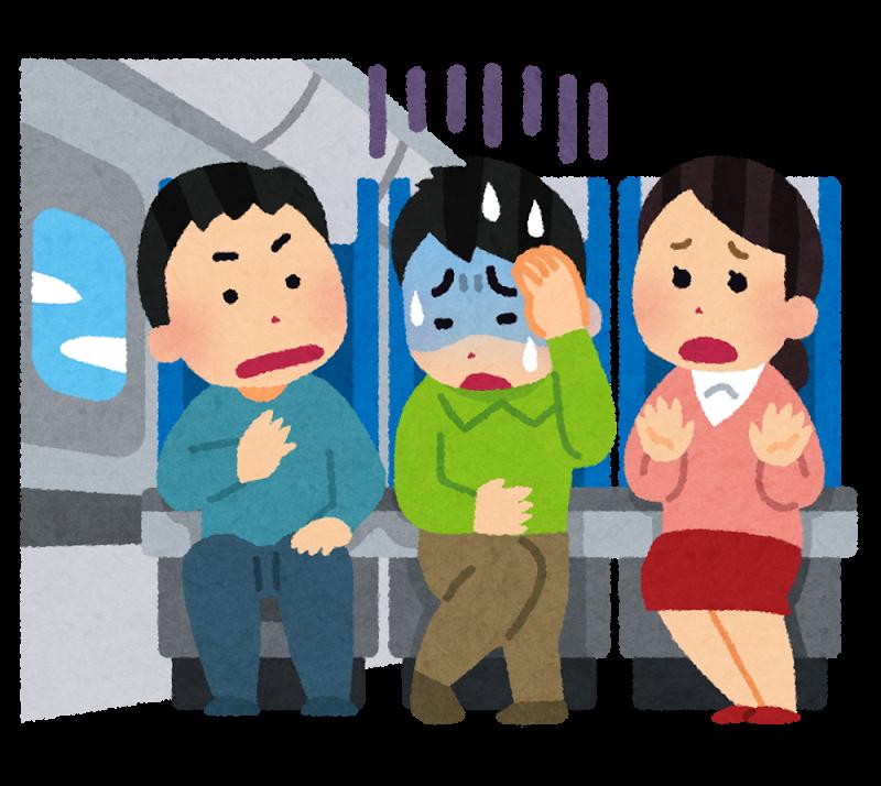 『飛行機内の英会話編』飛行機内で青ざめている人画像