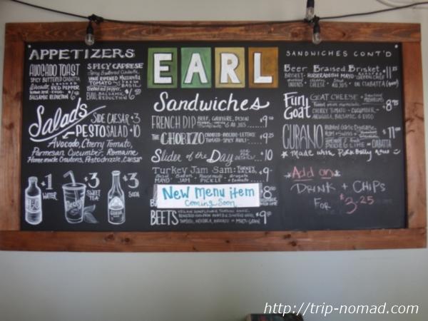 『アール・サンドイッチ(Earl Sandwich)』店内メニューボード画像