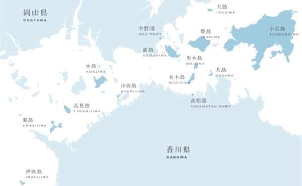 『瀬戸内国際芸術祭』会場の島の地図画像