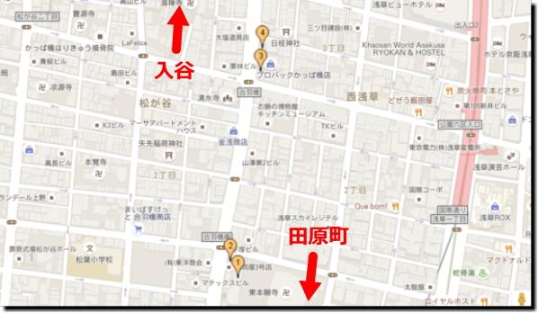 東京浅草「合羽橋道具街」食品サンプル場所地図画像