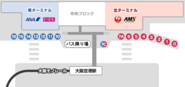 『大阪伊丹空港から淡路島へのバスでの行き方・ルート』伊丹空港バス乗り場地図画像