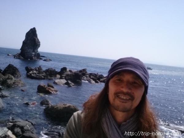 『上立神岩』自撮り画像
