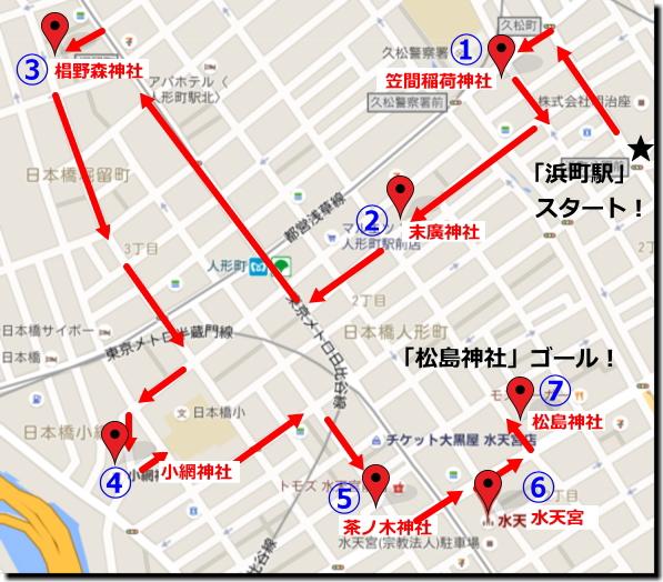 『日本橋七福神巡り』「浜町駅」スタートコースまわり方画像