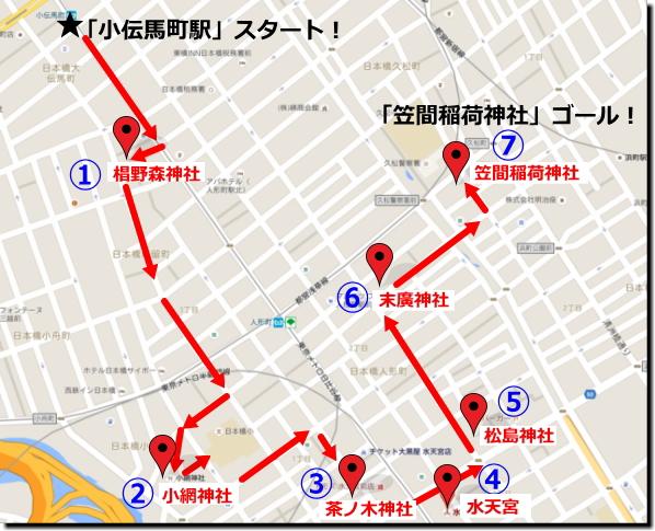 『日本橋七福神巡り』「小伝馬町駅」スタートコースまわり方画像