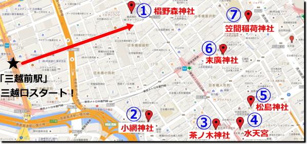 『日本橋七福神巡り』「三越前駅」「三越(本館)」「コレド日本橋」方面スタートコースまわり方画像