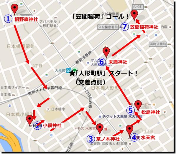 『日本橋七福神巡り』「人形町駅」人形町交差点スタートコースまわり方画像
