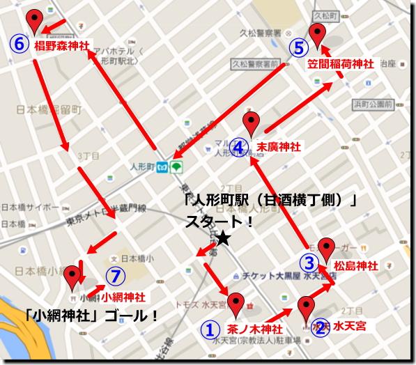『日本橋七福神巡り』「人形町駅」甘酒横丁スタートコースまわり方画像