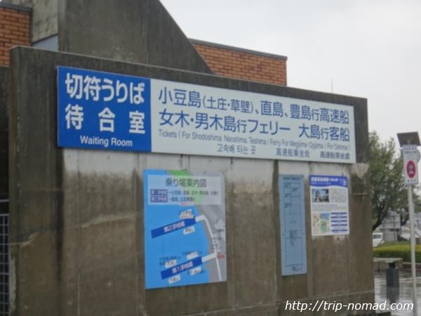 『女木島(鬼ヶ島』高松フェリー乗り場、女木島男木島行フェリー切符売り場看板画像