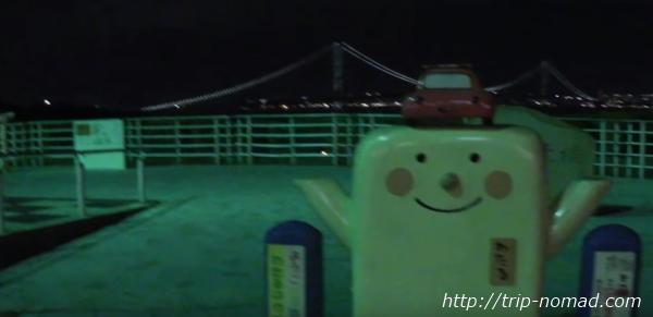 『絶景スタバ 淡路サービスエリア(下り線)店』本四高速のシンボルキャラクターの「わたる」くん画像