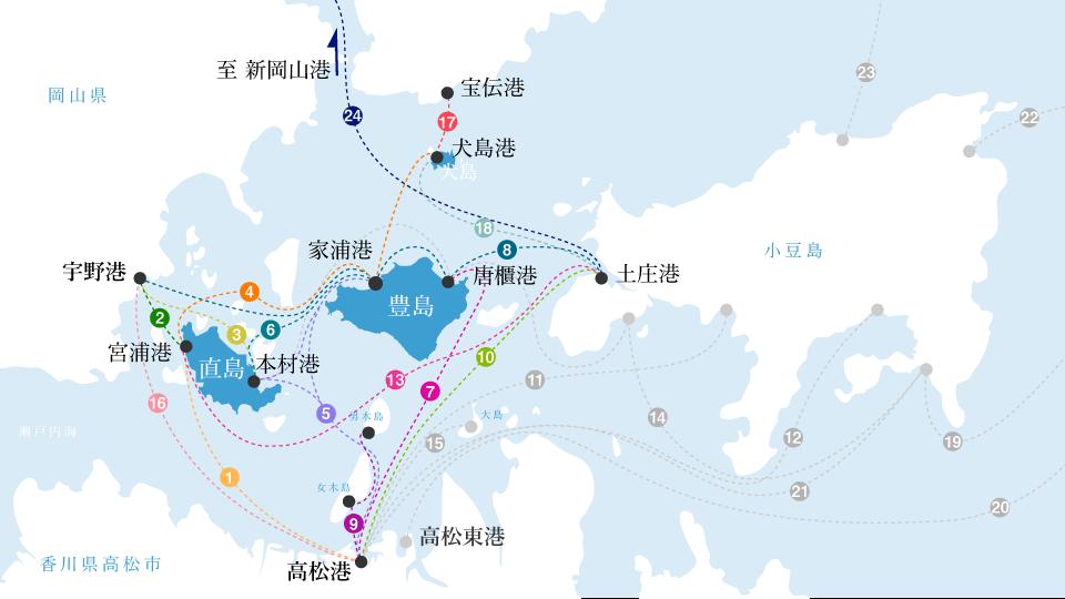 『1日で『豊島』『犬島』をまわるスケジュール』『豊島』『犬島』の場所、位置関係地図画像