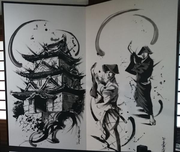 『宇和島城』『茂本ヒデキチ』氏の墨絵右側画像