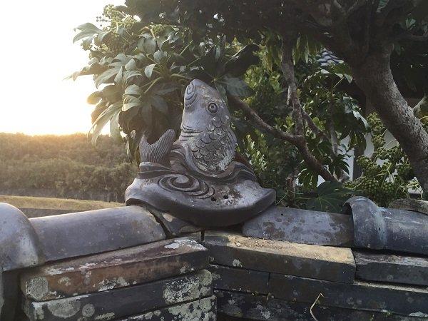 愛媛県宇和島市『古民家與那原家』装飾瓦「鯉」画像