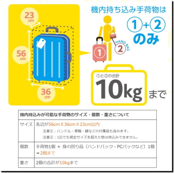 バニラエア『機内持込手荷物』サイズ・重量詳細画像
