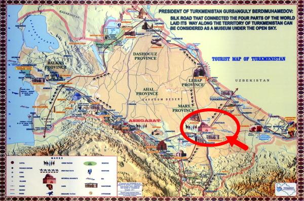 トルクメニスタン世界遺産『メルヴ遺跡』地図画像