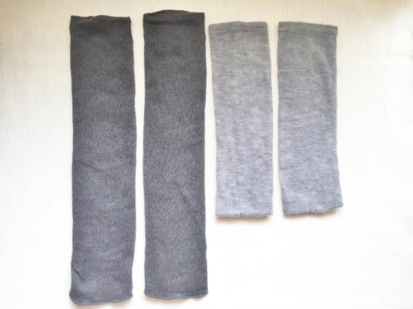 『女子旅冷え性対策』kasane lab.(カサネラボ)さんの『アームウォ―マー』兼『レッグウォーマー』「レギュラー丈」と「ロング丈」長さ比較画像