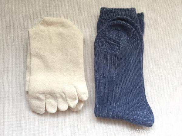 『女子旅冷え性対策』「シルクふぁみりぃ」さんの『冷えとり靴下』の「エコシルク靴下」と「重ね履き用コットンリブ靴下」画像
