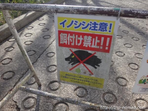 「岡本駅」から『保久良神社』への行き方 イノシシ注意の看板