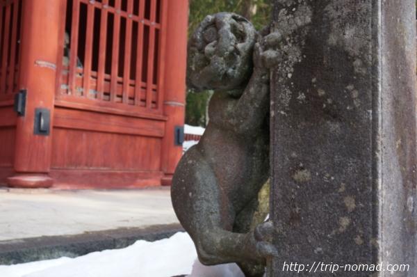 青森県弘前市『岩木山神社』の玉垣狛犬