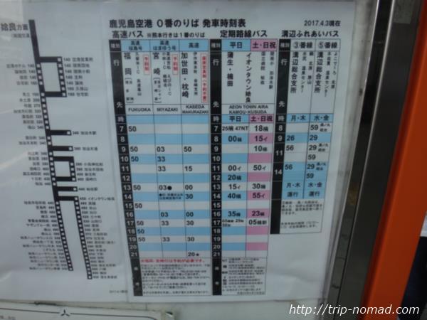 鹿児島空港「0番のりば」のバスの行先