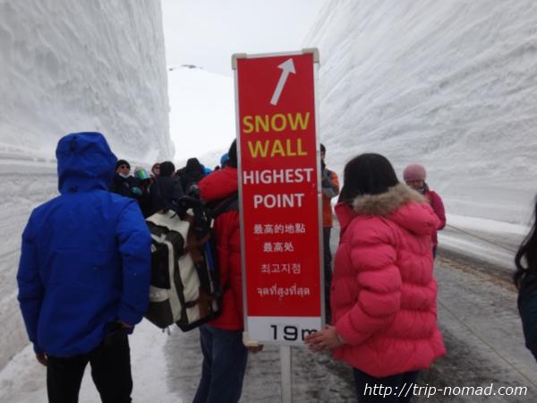 立山黒部アルペンルート『雪の大谷ウォーク』最高地点看板英語