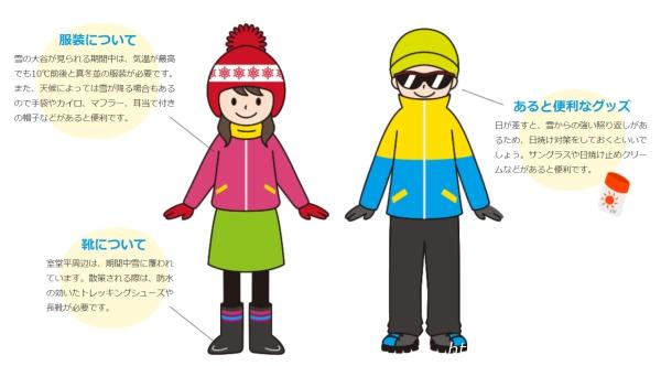 立山黒部アルペンルート『雪の大谷ウォーク』の時のおすすめの服装イラスト