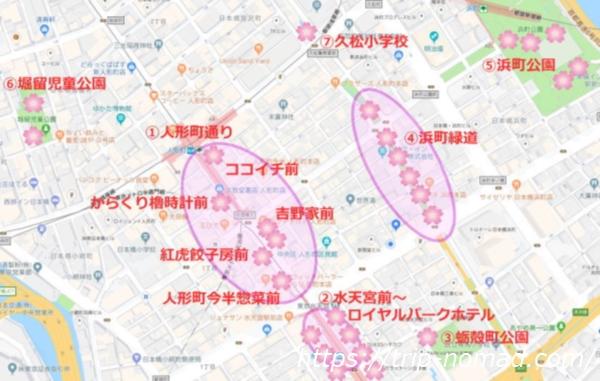 人形町『お花見スポット』全体地図画像