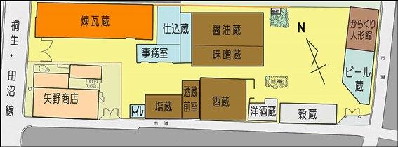 『桐生観光』旧矢野蔵群配置図