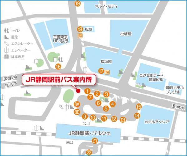 静岡駅前バス停案内図