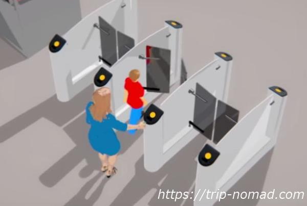 『モスクワ『メトロ(地下鉄)』の自動改札に二人で通過する方法画像