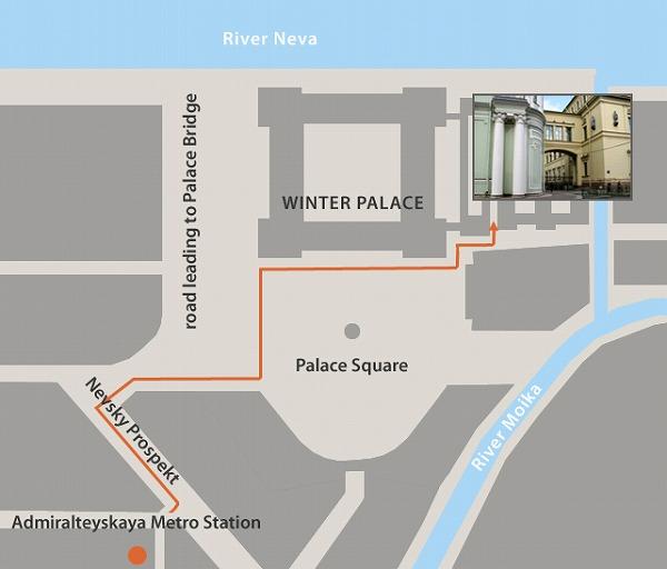 ロシア・サンクトペテルブルグ『エルミタージュ美術館』eチケット専用の入口の公式地図画像