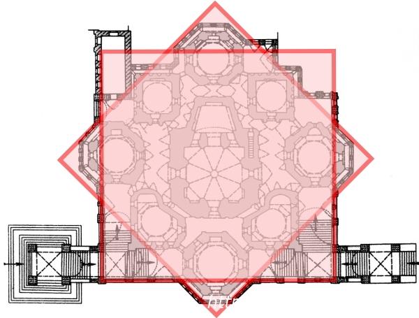 ロシアモスクワ『聖ワシリー大聖堂』正方形デザイン